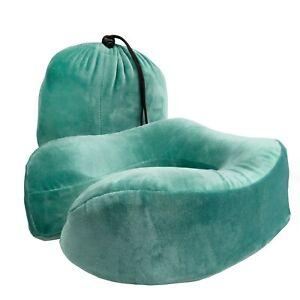 Green Travel Memory Foam Neck & Back Support Pillow - Comfy Sleep Travel Cushion