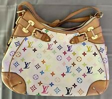 Authentic LOUIS VUITTON  White &  Multi Color With Leather Corners Red Lining