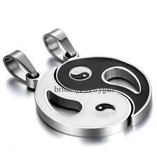 2pcs His and Hers Ying Yang Taiji Bagua Pendant Stainless Steel Couple Necklaces