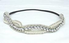 GORGEOUS CUSTOM MADE GATSBY STYLE RHINESTONE & FAUX PEARL BEAD BRIDAL HEADBAND