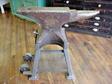 Large Size  335 lb. PETER WRIGHT BLACKSMITH ANVIL With Shop Built Wheeled Stand