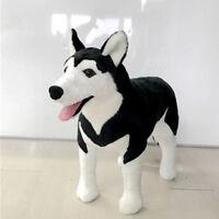 39'' Black Husky Dog Doll Big Anime Plush Animal Toys Emulational Stuffed Gift