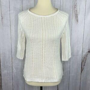New York & Company Womens Cream 3/4 Sleeve Loose Knit Boat Neck Sweater M
