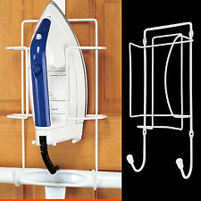 IRON HOLDER Wall Mounted Ironing Board Wire Bracket Cupboard Hanger Tidy Storage