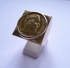 Sello oro cuadrado con pieza oro 20 Francos Napoleón cabeza no laureado