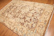 6' x 9' Hand Knotted Wool Modern Distress Erased Oushak Area Rug AOR8624 Brown