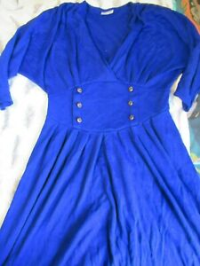 Incredibly bold and elegant vintage blue dress by BHS with button detail (16)