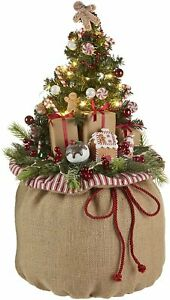 """RAZ Imports 24"""" Burlap Gift Bag with Lighted Tree All in One Holiday Decoration"""