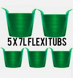 5 X FLEXIBLE TUB BUCKET PLASTIC FLEXI TUBS STORAGE CONTAINER GARDEN GREEN POT