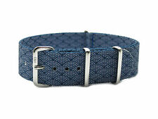 HNS ZULUPATH Double Graphic Printed Indigo Sashiko Waves Nylon Mod Watch Strap