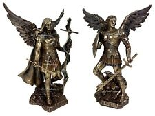 PAIR Saint MICHAEL & GABRIEL ARCHANGEL SWORD & SHIELD DEMON Statue Bronze Finish
