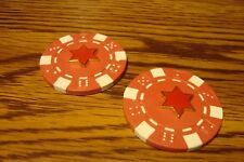 #2 STAR of DAVID Poker Chip,Golf Ball Marker,Card Guard,Gold Tone-Enameled Red
