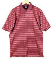 Nike Golf Polo Short Sleeve Shirt Burgundy with Orange Stripe Mens Size Large