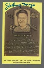 Johnny Mize Signed Autograph YELLOW HOF Plaque Card -100% GUARANTEED