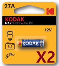 Pila KODAK MAX 27A 12V - Super Alcalina - Pila Mando Garaje - Pack De 2 Unidades