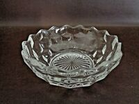 Clear Glass Bowl Cube Design With Scalloped Rim