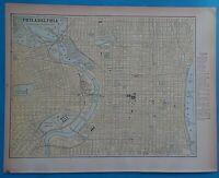 Vintage 1898 PHILADELPHIA Map ~ Old Antique Original Atlas Map 20819