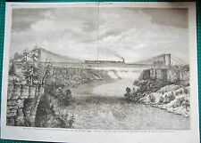 1862 ANTIQUE PRINT-Niagara Pont suspendu