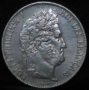 5 Francs 1845. Louis Philippe I. Lille.W. EBC