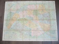 SUPERBE PLAN DE PARIS VUILLEMIN 1900 ENTOILE 89 X 68 centimètres