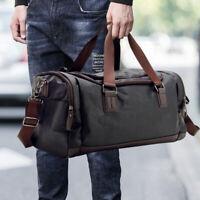 Men Holdall Bag Sport Duffle Bag PU Leather Weekend Travel Large Shoulder Bag