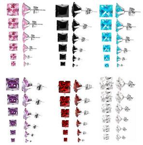 Stainless Steel Stud Earrings Cubic Zircon Square Men Women 2PC