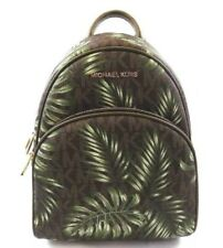 US BOUGHT MK Abbey Medium Palm Leaves Green Back Bookbag Brown Olive Backpack