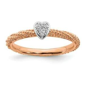 Rose Gold Sterling Silver & Diamonds Heart Halo Cable Stackable Band Ring Sz 10
