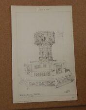Antique Architects Print,Church Font Walsingham Norfolk  .The Bulder 1887