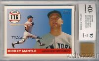 2006 Topps Home Run #116 Mickey Mantle w/WORN PANTS BECKETT 10 MINT GGUM
