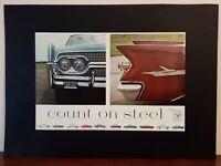 """Pubblicità originale """"steel"""" del 1959 trafilatura da rivista in passepartout"""
