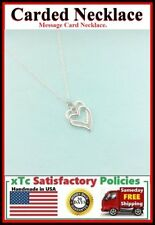 Friend Gift; Handcrafted 2 Silver Heart Charms Necklace.