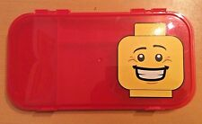 Lego Minifigure Storage Case Red Head Smiling Carry Tote Box Clear Project Case