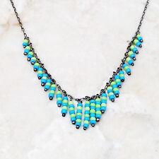 "Kerri Linden Vintage Oxidized Sterling Silver Blue Green Bead 16"" Necklace"