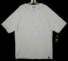 NEW Sz L Henley T-Shirt DICKIES 3-Button Front Opening Heather Gray