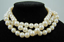Vintage CREAM Triple Multi Strand Lucite Pearl Classic Bead Necklace