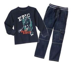 NWT Gymboree SKI SCHOOL & SNOW LEGEND Outfit,Shirt,Cargo Jeans,Pants Size 5