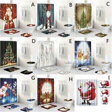 Christmas Santa Claus Bathroom Shower Curtain Bath Rugs Toilet Seat Cover Sets