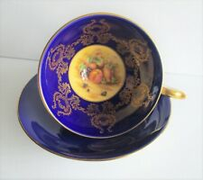 BEAUTIFUL AYNSLEY COBALT & GOLD FRUITS CUP & SAUCER