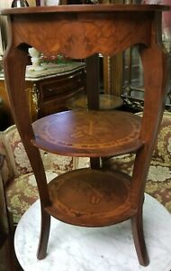 Small Accent Round Table with Three Level with Glass Top
