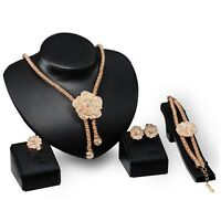 CLEAR GOLD COSTUME JEWELLERY NECKLACE EARRINGS RING BANGLE SET CRYSTAL NEW 33