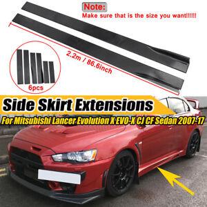 2.2m Black Side Skirt ForMitsubishiLancerEvolution CJCFSedan2007-2017