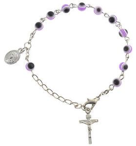 """Purple Evil Eye Decade Rosary Bracelet w/ Dangling Cross & Charm 7.5"""""""