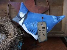 Primitive Fat Lil BLUEJAY Bird for Summer Rustic Folk Art Free Standing Ornie