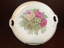 Vintage Three Crowns China Germany Serving Plate Rose Grape Design Open Handles