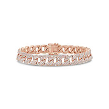 3.18CT 14K Rose Gold Natural Round Diamond Pave Cuban Link Chain Bracelet Womens