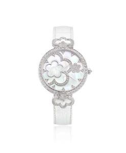 925 Sterling Silver womens wrist watch simulated diamond round Flower white belt