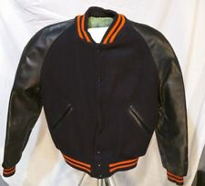 VINTAGE WOOL LEATHER LETTERMAN VARSITY JACKET NAVY BLUE HIGH SCHOOL FOOTBALL