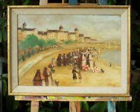 tableau huile /toile  - Scène de plage - signée tiffany
