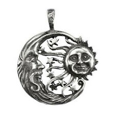 "Windblown Celestial Amulet Sun & Elder Moon Stars 1.5"" Pewter Necklace Pendant"